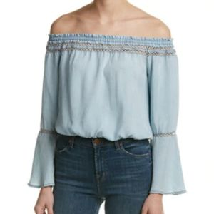 Walter Baker Milan off shoulder crop L NWT denim